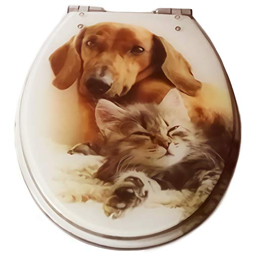 Toilet seat cover Resin Cute cats and dogs pattern design V/U/O-Type Household Universal Slow-Close With Hinge Easy to Install Clean,Brown