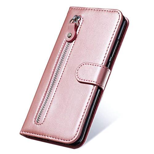 HAOTIAN Hülle für LG Velvet 4G/5G Wallet Brieftasche, LG Velvet 4G/5G Flip Handyhülle, Premium Leder mit Ständer Funktion und Kartenfach und Magnetic Snap Schutzhülle, Rosa