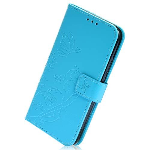 Herbests Compatible avec Samsung Galaxy J4 2018 Housse de téléphone en Cuir Etui de Protection Motif PU Cuir Portefeuille Folio Housse Case Cover Couverture avec Fonction Stand,Bleu