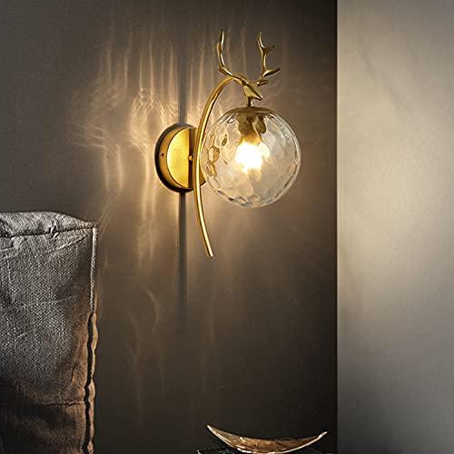Dormitorio Lámpara De Cama Lámpara De Pared Lámpara De Pared Pasillo Lámpara Retro Lámpara (Negro, Oro)(Color:Patrón de Agua Dorada)