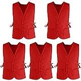 Supermarket Volunteer Vest Unisex Cobbler Apron with Two Front Pockets (5 Packs)-Red-XL