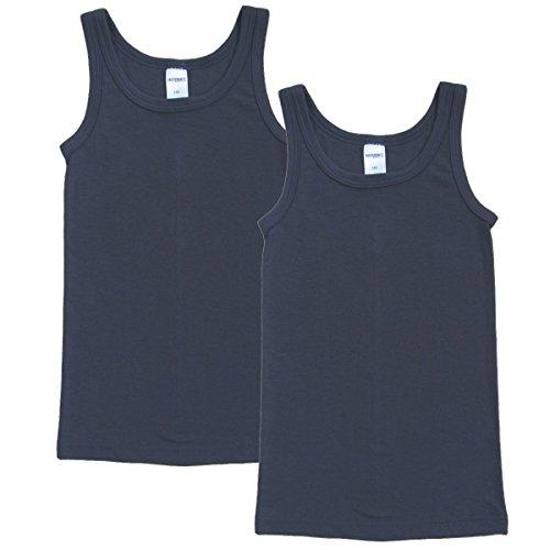 HERMKO 62800 2er Pack Kinder Funktionsunterhemd für Jungen und Mädchen, Größe:164, Farbe:Graphit