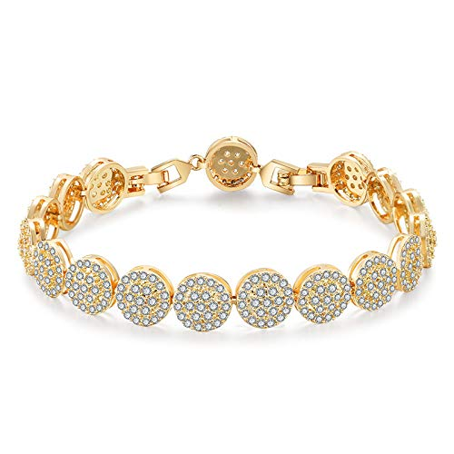 Pulsera Redonda Europea Y Americana De Diamantes Completos Pulsera Exquisita De Circonita Aaa Chapado en oro blanco de 18k