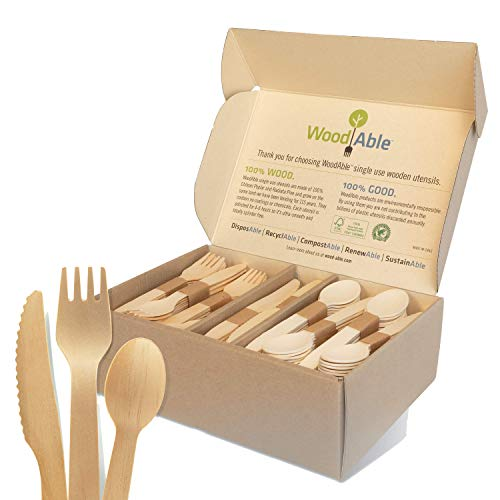 WoodAble - Disposable Wooden Forks, Spoons, Knives Set   Alternative to Plastic Cutlery - Biodegradable Replacements (300 Count - 120 Forks, 120 Spoons, 60 Knives)