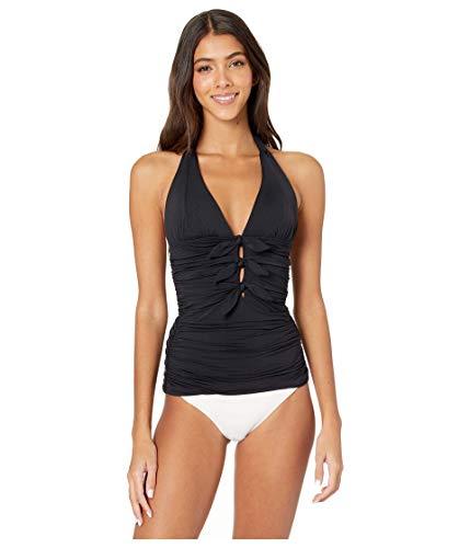 Carmen Marc Valvo Women's Halter Tankini Top Swimsuit with Front Tie Detail, Black, X-Small/2-4