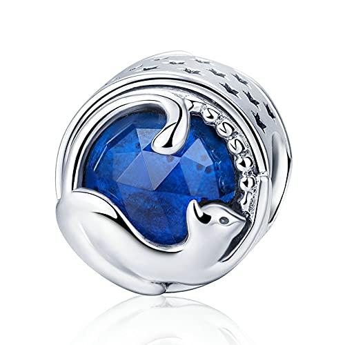 LILANG Pandora 925 Pulsera de joyería Pandach Natural Plata esterlina Jugando Gatito Gato Cuentas Azules Ajuste brazaletes Encanto Mujeres Regalos DIY