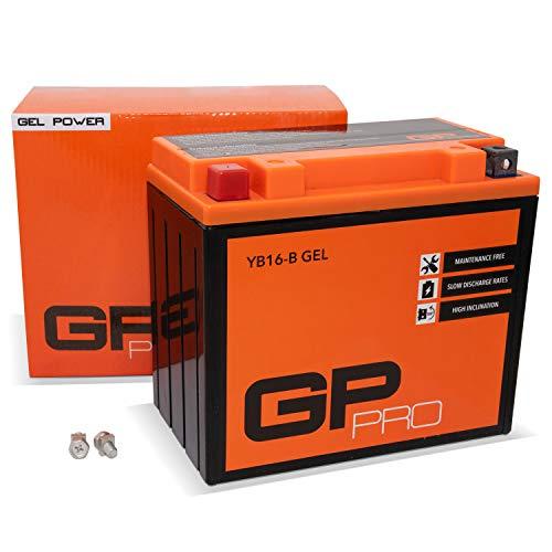 GP-PRO GB16-B 12V 17Ah GEL Batteria di avviamento (simile a YB16-B / 51912) (Esente da manutenzione / Sigillato) Moto Accumulatore per es. Harley Davidson