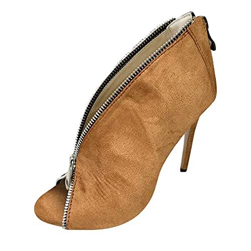 TTWOMEN Mode Damen Open Toe Pumps Sexy Spitz Reißverschluss High Heel Kurze Nackte Stiefel Sandalen