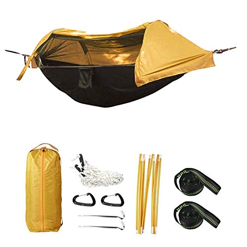Camping Hammock with Mosquito Net and Rainfly Cover, Lightweight Portable Hammock for Outdoor Backpacking Hiking Travel (Yellow)