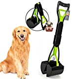 KHAZIX Non-Breakable Dog Pooper Scooper for Large and Small Dogs, Long Handle Portable Pet Pooper Scooper, High Strength Materials & Durable Spring, Great for Lawns, Grass & Gravel