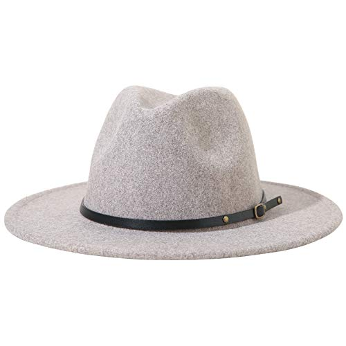 Lanzom Women Lady Felt Fedora Hat Wide Brim Wool Panama Hats with Band (A-Oatmeal)