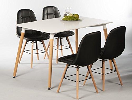expendio Tischgruppe Esstisch Ilka weiß + 4 Stühle Tobias schwarz Essgruppe Esszimmer Speisezimmer Wohnzimmer Küche