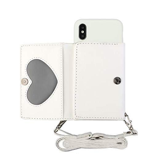 Miagon Halskette Hülle für iPhone XS Max,Verstellbar PU Leder Brieftasche Handykette Schultergurt Silikon Handyhülle mit Band und Kartenhalter Kordel zum Umhängen,Weiß