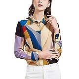 Valin V7317 - Blusa de seda para mujer, 100% seda, cuello de camisa de manga larga beige 44