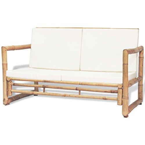 Nishore Sofá de Jardín 2 Plazas con Cojines Bambú 115 x 65 x 72 cm