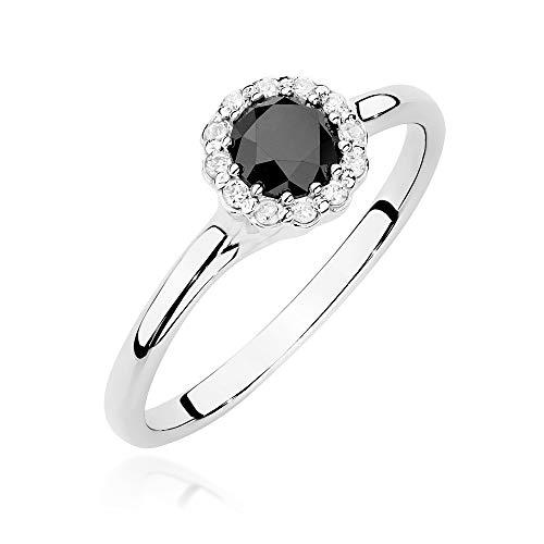 Anello Zlocisto da donna, in oro, con diamanti neri o biancho taglio brillante H / Si Campione oro giallo o oro bianco 585