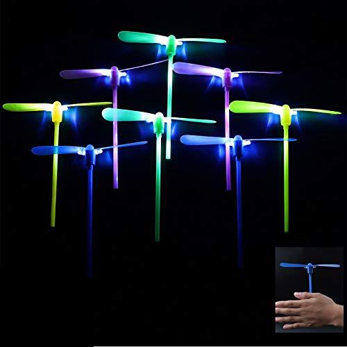 Herefun Helicóptero Vuelo Juguete, 20 Piezas Volador Luminoso Arrow Rocket Copters con Luz LED Helicóptero Noche Volando Juguete, Favores de la Fiesta (Color Aleatorio)