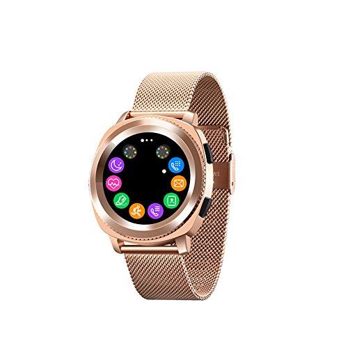 ZZG Bluetooth Intelligente Orologio Multi-Funzione Impermeabile Passo frequenza cardiaca monitoraggio del Sonno Bluetooth Chiamata Informazioni Movimento sincrono Braccialetto (Color : Gold - Steel)