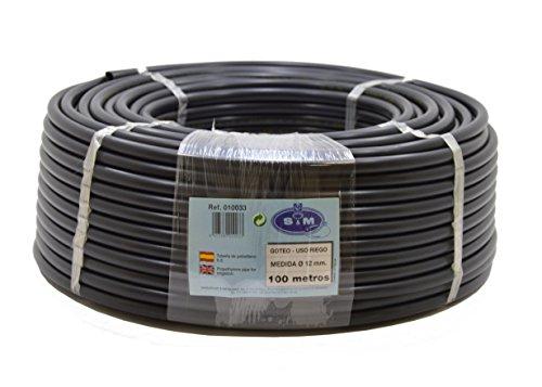 S&M 010033 Manguera para riego por Goteo, 12 mm x 100 m, Color Negro, 45.00x45.00x15.00 cm