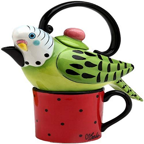 Appletree 7-1/4-Inch Ceramic Green Parakeet Tea For One