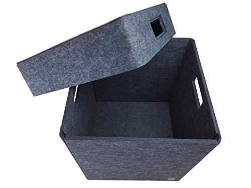 """Aufbewahrungsbox FILZ Regalkorb Filzbox Korb Box Allzweckbox mit Deckel """"NEUTRAL"""" 5 Größen"""
