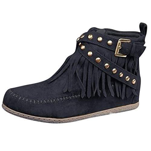 Behkiuoda Damen Knöchelstiefel Kurze Quasten große Stiefel Reißverschluss Nieten Winter Causal Boots für Damen - Schwarz - 36 DE