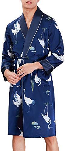 Chaos World Vestaglie Uomo Kimono da Notte Accappatoio Lunga in Raso Pigiama Camicia da Notte (Blu Scuro Gru,L)