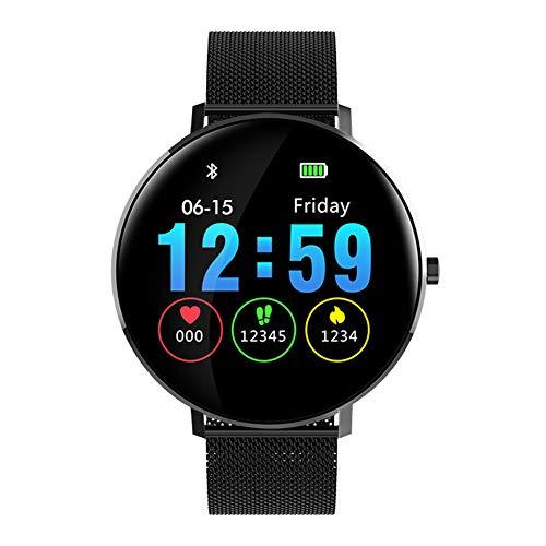 Kivors Smartwatch, IP68, waterdicht, klassiek, rond, touchscreen, met hartslagmonitor, slaapmonitor, stappenteller, oproepmeldingen en berichten voor Android en iOS,  Blanco Y Gris