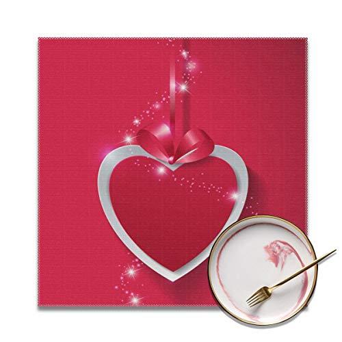 Yutess Valentijnsdag Papier Hart Met Lichten Op Roze Placemat Zacht En Makkelijk Te Vouwen Anti-Fouling Tafel Decoratie (4 Stuks) Gepersonaliseerd
