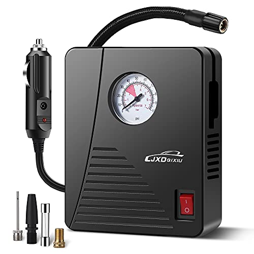 LJXDQIXIU Air Compressor Tyre Inflator - Portable DC 12V 100PSI Auto Air Pump - Classic Pressure Gauge and Emergency LED Light - Car Tyre, Bicycle, Basketball and Other Inflatables