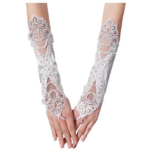 Unbekannt Brauthandschuhe fingerlos Braut Handschuhe Perlen Pailletten Hochzeit Weiß Ivory (Ivory)