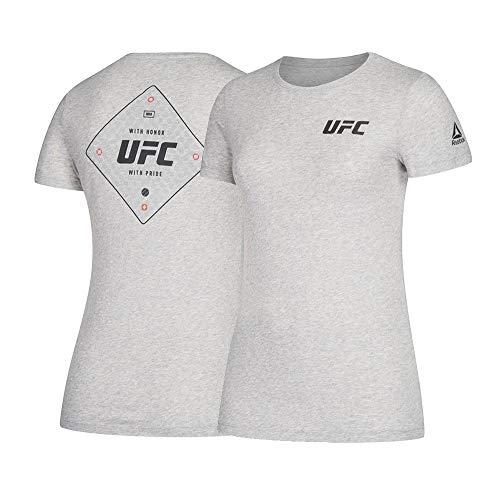 Reebok UFC Logo tee Sudadera con Capucha para Mujer, Mujer, Manga Corta, D94714, Gris Jaspeado Medio, L