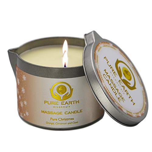 Pure Christmas Massage Candle – Vegan and Aromatherapy Luscious Formula of Skin Hydration Massage Oil Candle – with Orange, Clove, and Cinnamon Essential Oil - by Pure Earth Essentials 6oz.