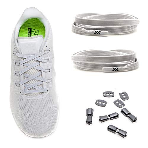MAXX laces elastische Schnürsenkel flach für alle Schuhe - Schnellverschluss Schnürbänder ohne binden für Damen, Herren, Kinder - Sneaker, Sportschuh, Arbeitsschuh, Trekkingschuh [Weiss]