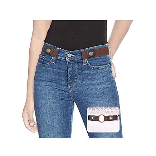 SUOSDEY Elastischer Gürtel Damen Stretchgürtel Unsichtbarer Gürtel Ohne Schnalle für Jeans Taillen Gürtel,Kaffeefarbe,60-84