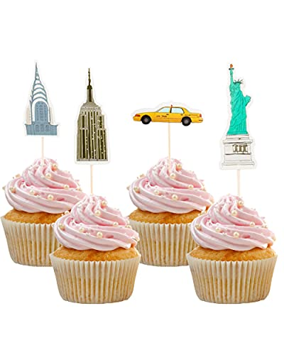 WIKI FIESTA Décoration New York Anniversaire, Soirée Américaine, New York Decoration, Decoration Gateau New York, Decoration Gâteau Anniversaire Américain, Etats Unis Cupcake (Paquet de 24)