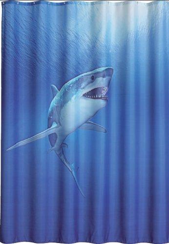 wohnideenshop Duschvorhang Shark 180cm breit x 200cm lang Textil ohne Ringe blau Hai im Meer