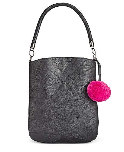 Circus by Sam Edelman Whitney Patchwork Shoulder Bag with Pom Pom - Black