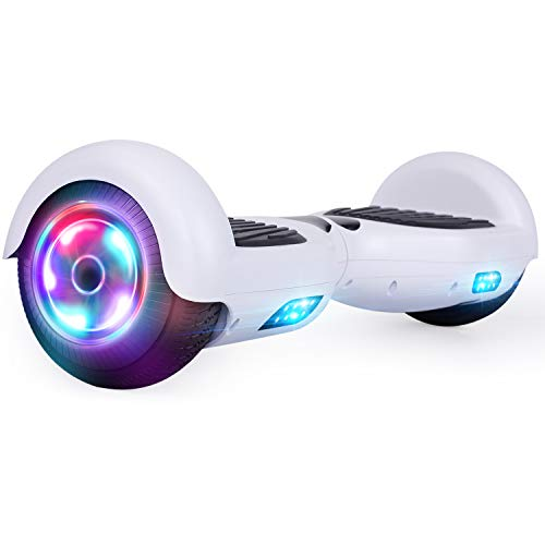UNI-SUN Hoverboard for Kids, 6.5' Self Balancing Hoverboard with Bluetooth and LED Lights, Bluetooth Hover Board, White