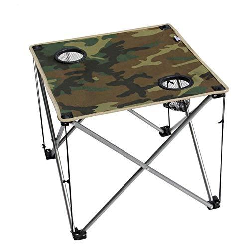 TYUIOO Mesa de Camping al Aire Libre, Bolsa de Transporte Antideslizante Compacto Simple con Soporte de Taza Ligero de Ocio Plegable Mesa de Senderismo Picnic Mesa-Camuflaje 47x47x42cm