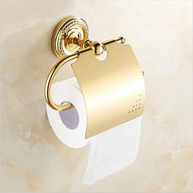 LUDSUY Bathroom Accessories golden Copper Toilet Roll Paper Holder Paper Rack gold Plated Bathroom Accessories Hardwares