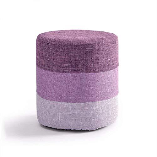 Yxsd Reposapiés Zueco Silla Puf Taburete redondo Sillón extraíble con asiento tapizado de lino taburete de maquillaje taburete para la sala de estar | Pasillo máximo 150 kg 29 x 35 cm en color