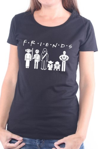 Mister Merchandise Cooles Damen T-Shirt Friends, Größe: M, Farbe: Schwarz