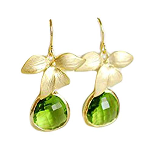no see long time Peridot Green Earrings, Birthstone Jewelry, Birthday Gift, Gold Orchid Flower Earrings Green Wedding Earrings, Bridesmaif Gift