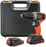 Black+Decker 18V 1.5Ah 650 RPM Combi Hammer Drill with 2 Batteries in Kitbox for Metal, Wod & Masonry Drilling &...