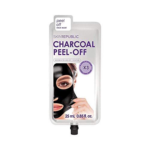 SKIN REPUBLIC Activated Charcoal Peel-Off Face Mask with AHA, Tea Tree Oil, Lavender Water, Sea Water Minerals, ideal gegen Akne, Mitesser, Flecken und Pickel (3 Anwendungen) (25ml)