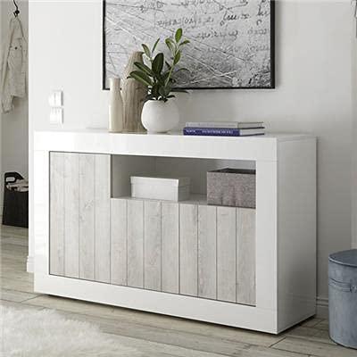 Noviomeuble - Aparador blanco lacado moderno 140 cm, 3 puertas Urban 3