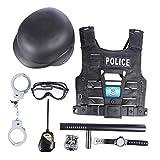 Macium 8 Piezas Policía Disfraz Niño con Policía Equipo Policía Chaleco Gorra Placa Policía Esposas Gafas de Sol Walkie Talkie Policía Juguete Kit para Niños