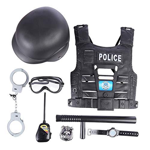 Macium 8 Piezas Polica Disfraz Nio con Polica Equipo Polica Chaleco Gorra Placa Polica Esposas Gafas de Sol Walkie Talkie Polica Juguete Kit para Nios