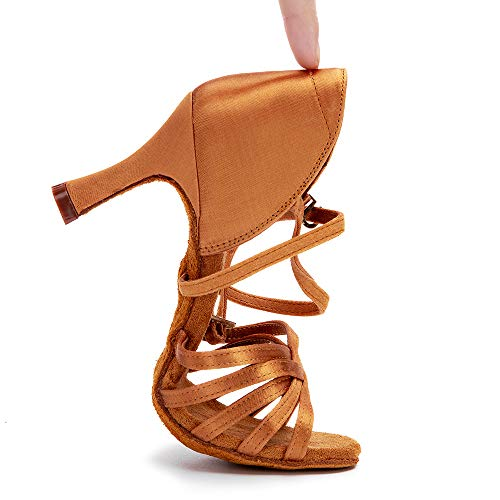 RoseMoli Women's Latin Dance Shoes Satin Professional Ballroom Salsa Practice Performance Dance Shoes Tan-2.8